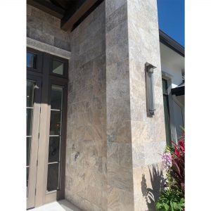 Silver 30 Silver Travertine 12x24 Tile Wall Jobside Picture
