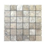 Ivory Strip Bar Travertine Mosaic 2 Silver Travertine 2x2 Mosaic Product pic