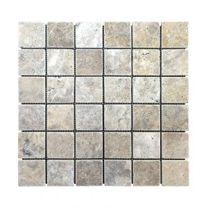 "Silver 2""x2"" Travertine Mosaic 9 Silver Travertine 2x2 Mosaic Product pic"