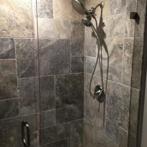 Silver 28 Silver Travertine French pattern tile Bathroom Wall project