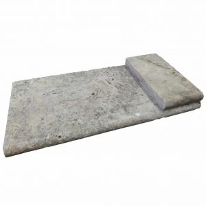 Silver Bullnose Pool Coping 21 Silver Travertine Tumbled Bullnose Pool Coping Product Pic