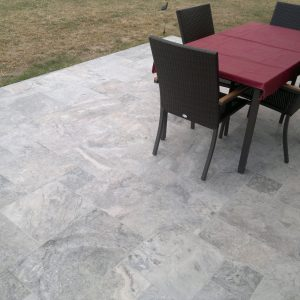 Silver 26 Silver Travertine french pattern Tile outdoor garden design jobside
