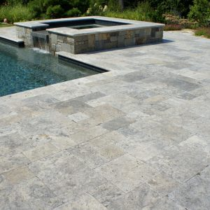 Silver 24 Silver travertine pool Paver French Pattern Jobside Pic
