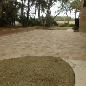 Walnut 12 Walnut Travertine 6x12 Paver Outdoor Jobside Pic