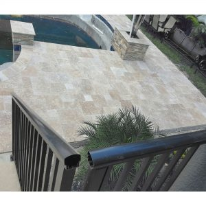 Walnut 13 Walnut Travertine French Pattern Paver Poolside Project Pic