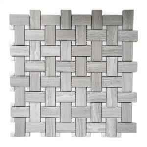 White Wood Basketweave Limestone Mosaic 8 White Wood Basketweave Limestone Mosaic Tile Product Pic