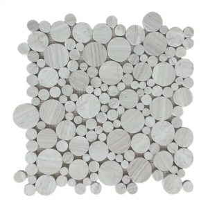 White Wood Bubble Limestone Mosaic 9 White Wood Bubble Limestone Mosaic Tile Product Pic