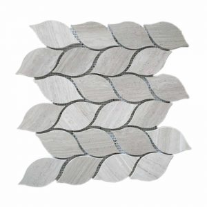 White Wood Fallen Leaves Limestone Mosaic 10 White Wood Fallen Leaves Limestone Mosaic Tile Product Pic