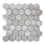 White Wood Hexagon Limestone Mosaic 2 White Wood Hexagon Limestone Mosaic Tile Product Pic