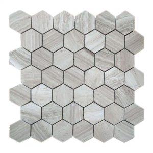 White Wood Hexagon Limestone Mosaic 11 White Wood Hexagon Limestone Mosaic Tile Product Pic