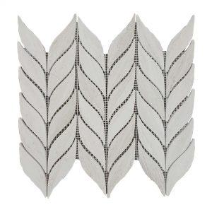 White Wood Olive Leaves Limestone Mosaic 12 White Wood Olive Leaves Limestone Mosaic Tile Product Pic