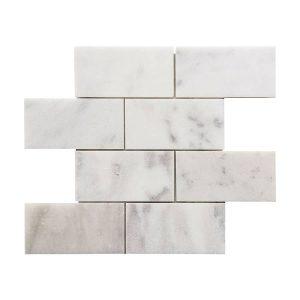 """Bianco Ibiza 3""""x6"""" Subway Marble Mosaic 10 bianco ibiza 3x6 marble mosaic tile Product Pic"""