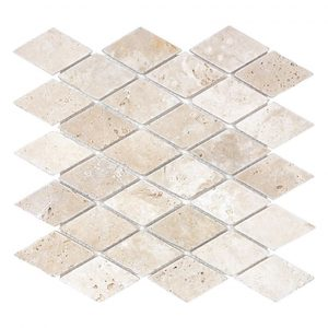 Ivory Diamond Travertine Mosaic 11 ivory light 2x2 diamond style travertine mosaic product pic