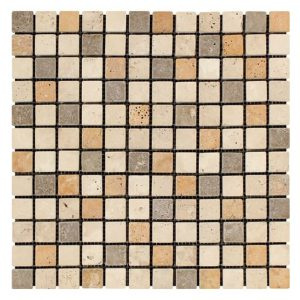 "Mix 1""x1"" Travertine Mosaic 3 mix traditional mosaic tile 1x1 Travertine Product Pic"