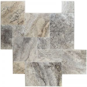Silver French Pattern Travertine Tile 2 silver travertine french pattern set Product Pic