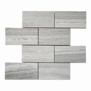 "White Wood 3""x6"" Subway Limestone Mosaic 5 white wood 3x6 subway limestone mosaic tile product pic"