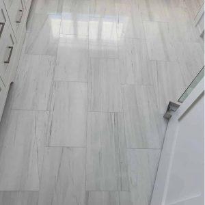Bianco Victoria 5 Bianco Victoria 12x24 Marble Tile Bathroom Floor Jobside Pic