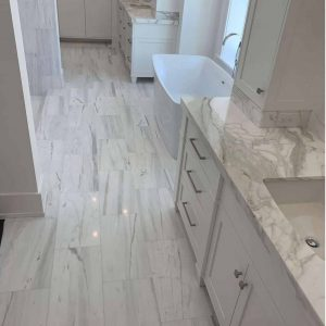Bianco Victoria 4 Bianco Victoria 12x24 Marble Tile Bathroom Floor Project pic
