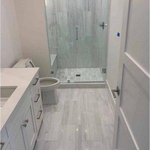 Bianco Victoria 2 Bianco Victoria 12x24 Marble Tile Bathroom Shower Design Project Pic
