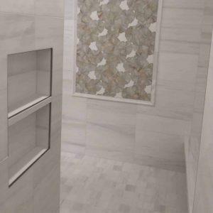 Bianco Victoria 10 Bianco Victoria 12x24 Marble Tile Bathroom Wall Design Project Pic