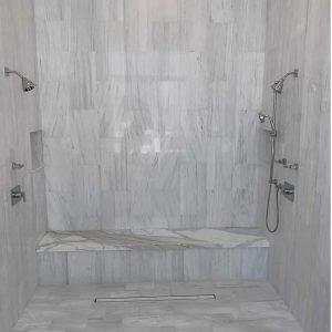 Bianco Victoria 9 Bianco Victoria 12x24 Marble Tile Shower Design Project Pic