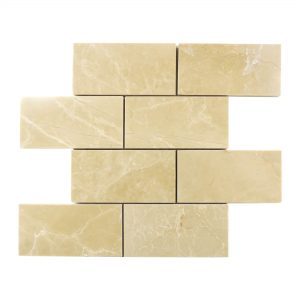 "Botticino 3""x6"" Subway Marble Mosaic 4 Botticino 3x6 Subway Mosaic Tile Product Pic"