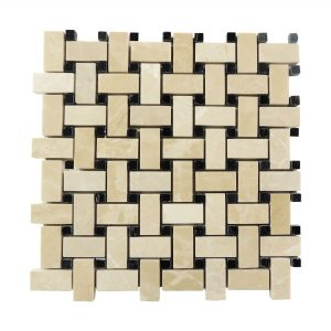 Botticino Basketweave Marble Mosaic 5 Botticino Basketweave Mosaic Tile Product Pic
