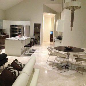 Botticino 11 Botticino Marble Tile Floor Kitchen Livingroom Area Jobside Pic
