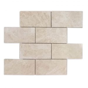 "Cappuccino 3""x6"" Subway Marble Mosaic 3 Cappuccino 3x6 mosaic Marble Tile Product Pic"