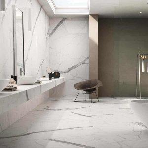 Calacatta 3 calacata polished marble tile Floor Wall Bathroom Design Pic