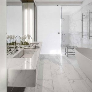 Calacatta 6 calacata polished marble tile Shower Project pic