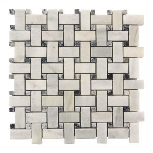 Ice White Basketweave Marble Mosaic 9 Ice White Basketweave Mosaic Product Pic