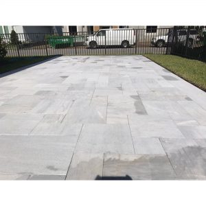 Ice White 25 Ice White Sand Blasted French Pattern Paver Outdoor Floor Jobside Pic 10