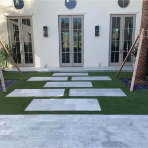Ice White 22 Ice White Tumbled 6x12 Paver Outdoor Driveway Pic 1