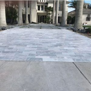 Ice White 21 Ice White Tumbled 6x12 Paver Outdoor Driveway Pic 2