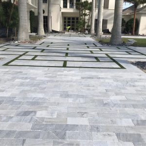 Ice White 23 Ice White Tumbled 6x12 Paver Outdoor Driveway Pic 6