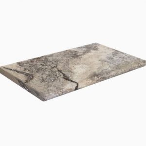 """Silver 12""""x24"""" Tumbled Travertine Coping 29 12x24 Silver Premium Select Tumbled Travertine Coping"""