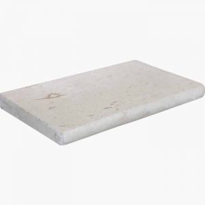 "Shell Beige 6""x12"" Bullnose Pool Coping 16 12x24x3 Shell Stone Premium Select Tumbled Limestone Coping"