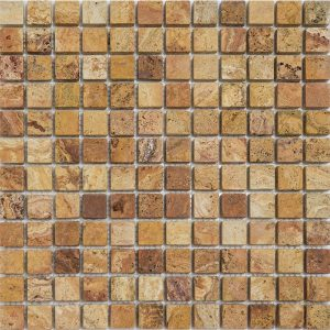 "Autumn Blend 1""x1"" Travertine Mosaic 1 1x1 Autumn Blend Tumbled Travertine Mosaic"