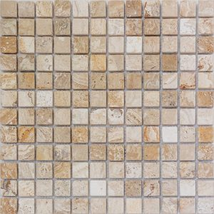 "Leonardo 1""x1"" Travertine Mosaic 7 1x1 Leonardo Tumbled Travertine Mosaic"