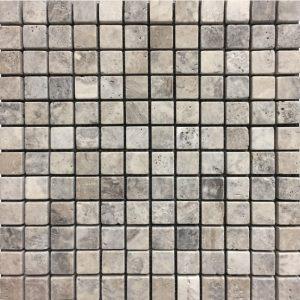 "Silver 1""x1"" Travertine Mosaic 7 1x1 Silver Tumbled Travertine Mosaic"