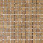 """Walnut 1""""x1"""" Travertine Mosaic 1 1x1 Walnut Noce Tumbled Travertine Mosaic"""