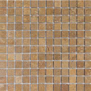 """Walnut 1""""x1"""" Travertine Mosaic 8 1x1 Walnut Noce Tumbled Travertine Mosaic"""