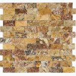 "Autumn Blend 1""x2"" Travertine Mosaic 2 1x2 Autumn Blend Splitface Travertine Mosaic"