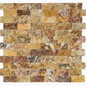 "Autumn Blend 1""x2"" Travertine Mosaic 1 1x2 Autumn Blend Splitface Travertine Mosaic"