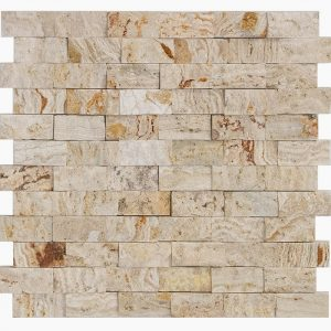"Leonardo 1""x2"" Travertine Mosaic 7 1x2 Leonardo Splitface Travertine Mosaic"
