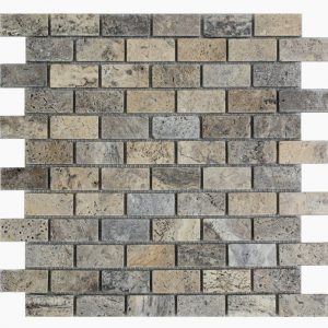 "Silver 1""x2"" Travertine Mosaic 15 1x2 Silver Tumbled Travertine Mosaic"