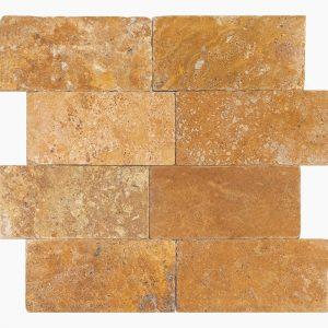 "Gold 1""xRandom"" Travertine Tile 5 1xRandom Gold Premium Select Tumbled Travertine Tile"
