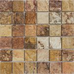 "Autumn Blend 2""x2"" Travertine Mosaic 2 2x2 Autumn Blend Tumbled Travertine Mosaic"