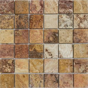 "Autumn Blend 2""x2"" Travertine Mosaic 1 2x2 Autumn Blend Tumbled Travertine Mosaic"